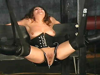 Hardcore curly model being humiliated hard
