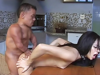 Midget man bangs tiny titty chick