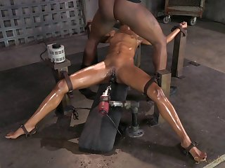 Oiled slave yelling when face fucked roughly in BDSM