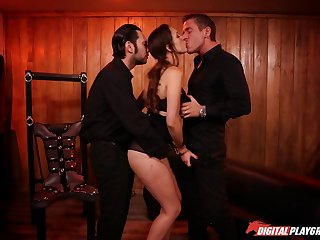 Collared submissive girl sucks and fucks two masterful men