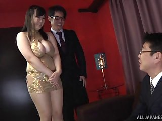Chubby Asian girl sits on a businessman's cock in a club
