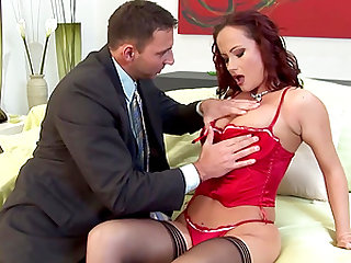 Cutie in a red corset Katy Parker playing with her sex partner