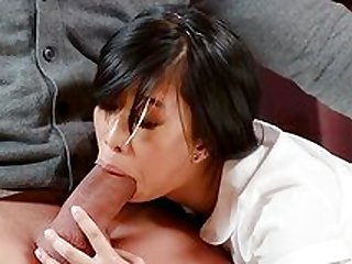 Asian schoolgirl fucks with the principal for better results