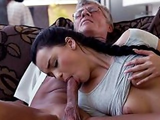 Daddy fucks son's girlfriend in hard manners