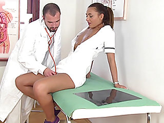 Horny doctor talked Alexis Brill into banging with him in the office