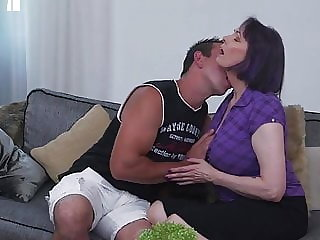 Taboo sex with big breasted mom and son