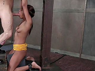 Blindfolded ebony slave Verta throated with her hands tied up