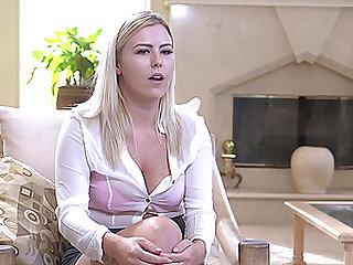 Pretty blonde beauty Summer Day fed cock down her throat in bondage