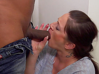 Chubby mature tattoed brunette Adrienne Kiss missionary fucked