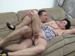 hairy 86 years old granny gets rough fucked by her young strong cock toyboy