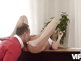 VIP4K. Old gentleman is glad to see an adorable babe in his