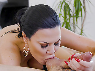 busty brunette Jasmine Jae craving for a dick between her tits and legs