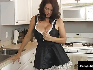 Penis Polishing Maid Charlee Chase Cleans Cum Off Her Belly!