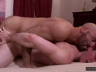 Sexy bald daddy has his way with a tight ass