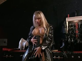 Leather Fetish Blondes Fuck a Guy In Anal Threesome