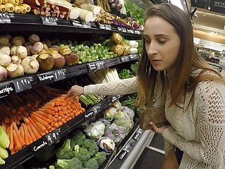 Inspiring senorita visits the supermarket for the nasty flashing